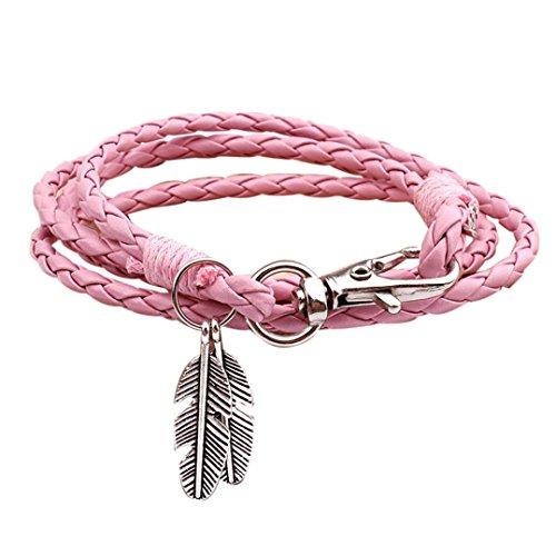 Sunnywill Mode Beliebte geflochtene Seil mehrschichtigen Echtleder Blatt Frauen Retro Armband für Frauen Mädchen Damen (Namen Für Halloween Mädchen)