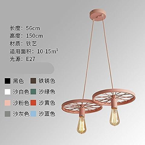 ShengYe style rustique plafonnier lampe Suspension Lustre Air industriel loft retro lustre chandelier en fer forgé au milieu de la roue des couleurs de l'habillement restaurant bar lustre, 2 et 56CM