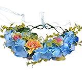 YAZILIND Boda Nupcial Rosa Flor Guirnalda Corona de Dama de Honor Floral Garland Playa Tocado Foto apoyos Diadema (Azul)