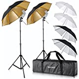 """Neewer® Kit Monture de Flash Trois Parapluies (2)33""""/84cm Blanc/ Argent Réflectif/ Or Réfléchissant pour Canon 430EX II, 580EX II, Nikon SB600 SB800, Yongnuo YN 560, YN 565, Neewer TT560, TT680"""