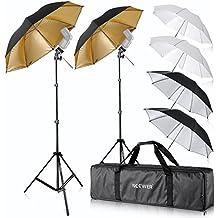 Neewer - Set de 2 paraguas blancos para estudio fotográfico (84 cm) + 2 paraguas reflectores plateados (84 cm) + 2paraguas reflectores dorados (96,5 cm) para productos, retratos, grabación de vídeo y fotografía