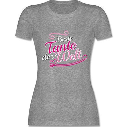 Schwester & Tante - Beste Tante der Welt - tailliertes Premium T-Shirt mit Rundhalsausschnitt für Damen Grau Meliert