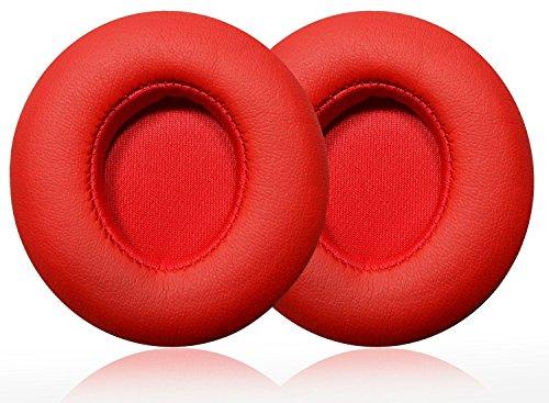Case Wonder Ersatz Ohrpolster / Ersatzohrpolster / Ohr Polster / Kopfhörer Ohrkissen / Pads für Kopfhörer Beats by Dr. Dre Solo 2, Solo 2.0 Reparatur Teile (Rot, Kabellos) - 2