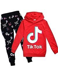 Chica TIK Tok Sudaderas con capucha Conjunto de Pantalones Cool Sudadera Unisex Niños Ropa Conjunto Pantalones