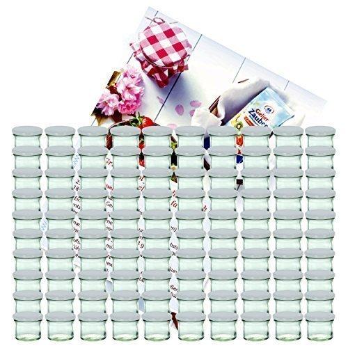 MamboCat 100er Set Sturzglas 125 ml Marmeladenglas Einmachglas Einweckglas to 66 silberner Deckel incl. Diamant-Zucker Gelierzauber Rezeptheft -