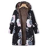 SANFASHION Damen Winter Warme Jacke Outwear Lässiger Print Taschen Kapuze Oberbekleidung Frauen Vintage Oversize Hasp Mäntel