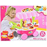 Planet Of Toys Bbq Cart Play Set 28Pcs With Light And Sound For Kids, Children