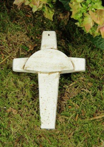 Tombe Croix, laiton, blanc cassé