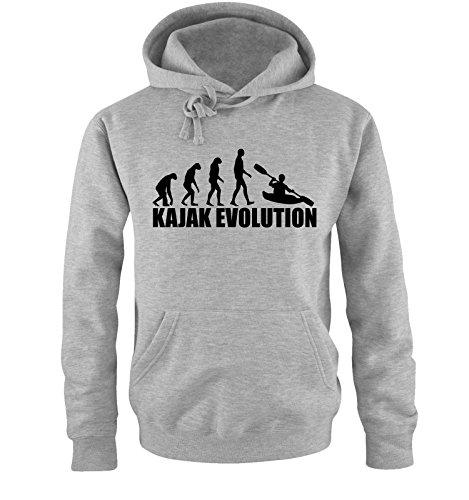 Comedy Shirts KAJAK EVOLUTION -Herren Hoodie in Grau/Schwarz Gr. XXL