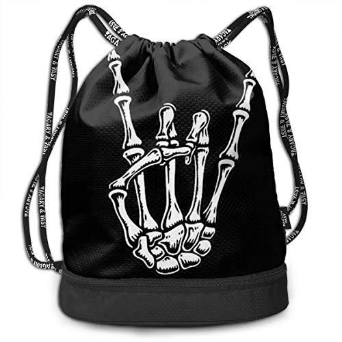 PmseK Mochila con Cordón,Bolsas de Gimnasia, Metal Skull Rock Hand Bolsa de Deportes Shoulder Cinch Storage Bag for Traveling Hiking