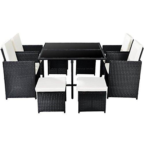 Merax Poly Rattan Lounge Gartenmöbel Set Sitzgruppe klappbare Essgruppe11/9 PCs (9 PCs, Schwarz) kaufen  Bild 1*