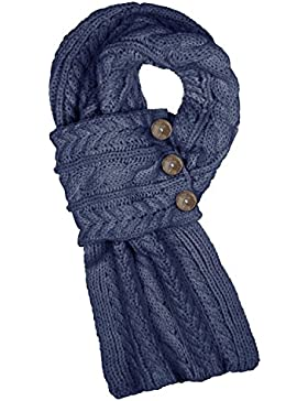 Aran Traditions Navy Blue Cable Wrap Button Scarf