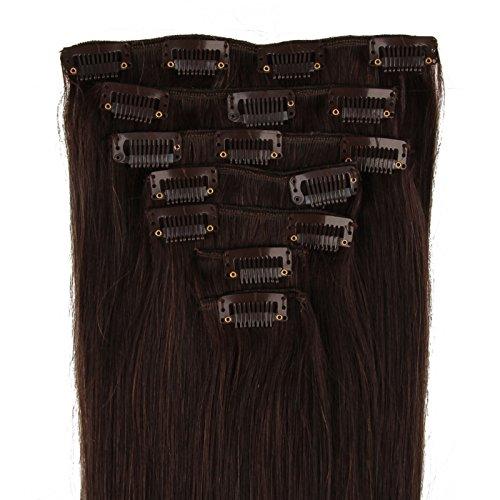Beauty7 Extensions de cheveux humains à clip 100% Remy Hair 2# Couleur Brun Fonce Longueur 38cm Poids 70 grams