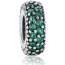 Argento Sterling 925verde smeraldo Charm per braccialetti Pandora