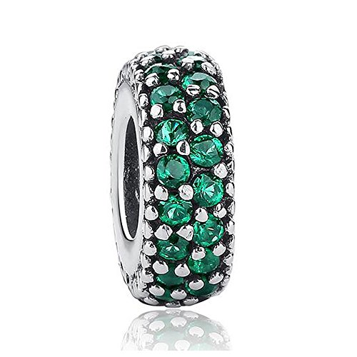Argent sterling 925Vert émeraude Charms pour bracelets Pandora