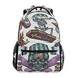 FANTAZIO Rucksäcke Cool Skelett School Tasche Weben Tagesrucksack mit Reißverschluss für Mädchen/Lady/Frauen