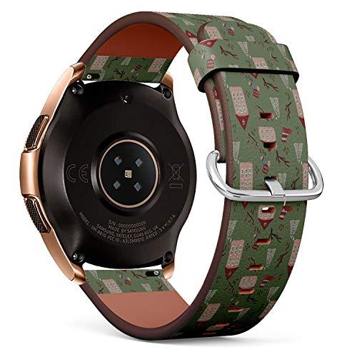 Art-Strap Kompatibel mit für Samsung Galaxy Watch (42MM) - Leder-Armband Uhrenarmband Ersatzarmbänder mit Schnellverschluss (Weihnachtshäuser)