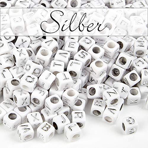 MichaLeo Buchstabenperlen zum auffädeln und Schmuckherstellung - 500 Premium Acryl 6 mm große Würfel Perlen mit Buchstaben in Silber und 3,5mm Lochung geeignet auch für Paracord Schnur (Alphabet Perlen Silber)