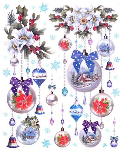 TGV Fensterbild Set Kugelgehänge Christbaumkugeln beglimmert Fenstersticker Weihnachten Fensterdeko