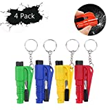 G-better 4PCS 3 in 1 Car Life Keychain Emergency Escape Tool with Car Window Car Safety Rescue Tool Window Glass Breaker Safety Seat Belt Cutter Hammer With Keyring (Red&Green&Blue&Yellow)