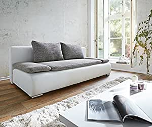 couch benno weiss hellgrau sofa mit schlaffunktion und bettkasten k che haushalt. Black Bedroom Furniture Sets. Home Design Ideas