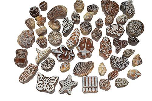 Set von 10Design Block Printing Stempel Holz handgeschnitzt für Frauengewand Border Keramik Basteln, mehendi Druck F -