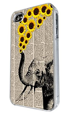 iphone 4 4S Cool Funky AZTEC elephant sunflowers Design Fashion Trend Coque arriere Coque Case-Effacer Frame