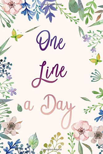 One Line A Day Journal: Floral Watercolor Five Years of Memories, Diary, Journals. Dated 365 Days and Lined Book
