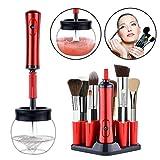 Limpiador de Brochas de Maquillaje,Pinceles de Maquillaje Limpieza y Secado Automático con 8 Adaptadores de Silicona 360 Grados Limpieza y Seca Pinceles en Segundos (Rojo)