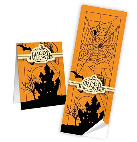 25 Stück orange schwarze Aufkleber Sticker Halloween SPUKSCHLOSS GEISTER-SCHLOSS Grusel- Etiketten Banderolen Verpackung für Kindertüten Geschenke Süßigkeiten Papiertüten zukleben