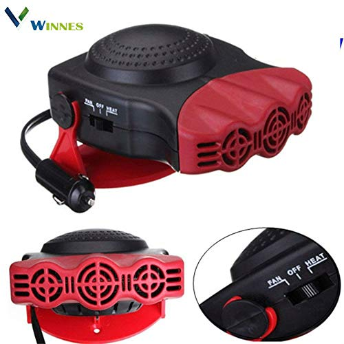 Car heating 12 V, Portable, electric fan heater, Antifreeze with window fan, hot / cold, 150 W, 180 ° Rotary, ceramic heater, 711038 red