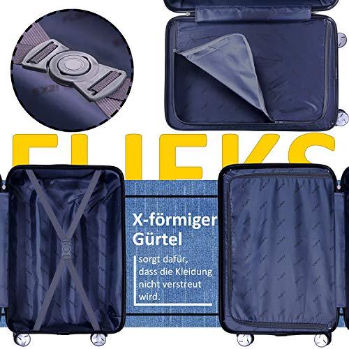 Flieks Reisekoffer Kofferset Hartschale 4 Zwillingsrollen Trolleys Gepäck Koffer 3tlg. (Champagner, L) - 5