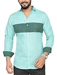 PP Shirts Light Green Casual Shirt With Color Block Pattern