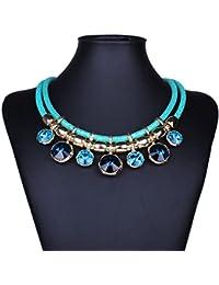 YAZILIND Bib Collier Rond Multicouche Colorful Cristal Sautoir ChaŒne De Collier Bijoux Pendentif Pour Les Femmes