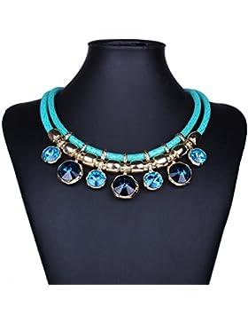 YAZILIND Mehrlagige Bunten Crystal Choker Halskette Runde Bib Kragen Kette Schmuck Anhänger Für Frauen