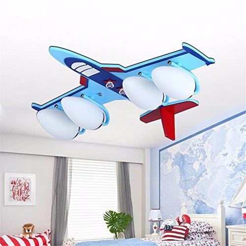 XMINL kreative Karikatur-hölzerne Kunst-Flugzeuge führte Kinderzimmer-Decken-Lampe, 60 * 55cm -