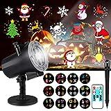 Creyer Halloween Proiettore Luci Natale LED, IP65 Faretti LED Illuminazione 12 Diapositive HD Pattern Slides, con Telecomando, Esterno/Interno per Matrimonio, Festa e Decorazioni da Giardino
