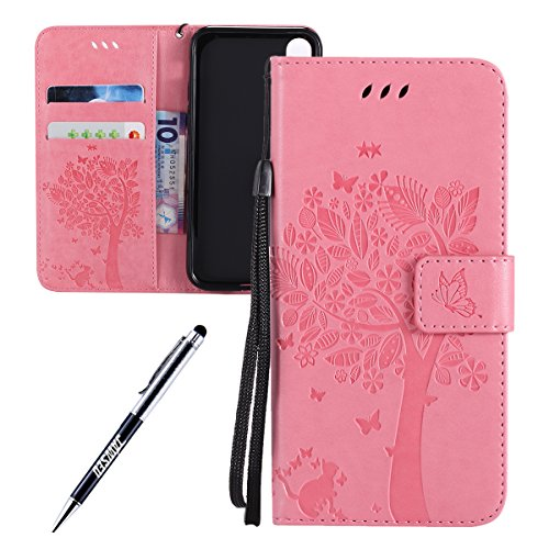 iPhone X Custodia in Pelle, Cover Custodia Per iPhone X, JAWSEU Retro Colore solido [Shock-Absorption][Anti Scratch] Wallet PU Leather Folio Case Cover per iPhone X Custodia Portafoglio con Super Sott Albero e gatti, Rosa