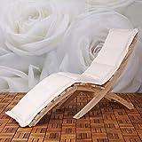 Sdraio deckchair N99 classico da esterno legno tenero 190x55cm con cuscino avorio immagine