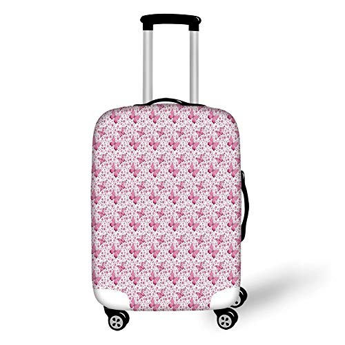 Travel Luggage Cover Suitcase Protector,Butterfly,Floral Arrangement and Cute Hearts Background Animals with Vibrant Colors Decorative,Pale Pink White,for Travels 19x27.5Inch -