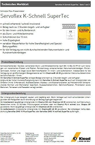"""""""Servoflex K-Schnell SuperTec"""" schneller Flex-Fliesenkleber, Dünn- und Mittelbettmörtel, bis 15 mm Schichtdicke, grau (1 Sack 20 kg)"""