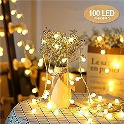 Guirlande Lumineuses Globes,Chenci 10 Mètres 100 LED, Blanc Chaud, 8 Modes Eclairage Chaleureux, Décoration Intérieure Salon, Chambre, Jardin, Balcon ,Terrasse