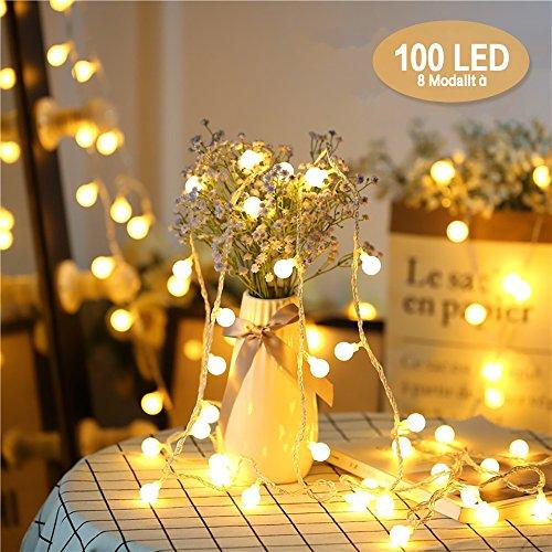 Catena luminosa, chenci® luci stringa 10m e cavo prolunga 5m lampadina illuminazione 100 led bulbo lampade ghirlanda per casa, festa, matrimonio, giardino, natale 8 modalità adattatore