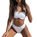 KIMODO Mode Damen Bikinis Weiß Bikini-sets Bademode Push-up gepolsterter BH Strand Badeanzug Bikinioberteil