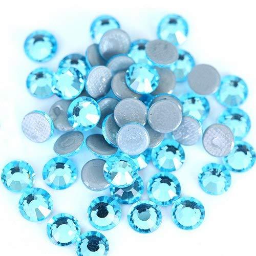 Astonish AAAAA Grad Glas Bunte Kristall Hot Fix Strass Flatback Hotfix Rhinestone-Kristall Eisen auf Steinen für Hochzeitskleid B0251: Aquamarin, SS16-1440pcs