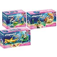 Playmobil® Magic 3 pcs. Set 70097 70098 70100 Sea King with Shark Carriage + Mermaid with snail gondola + Family with shell pram