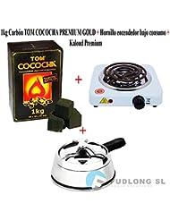 [PACK] 1kg CARBÓN para cachimba TOM COCOCHA PREMIUM GOLD, HORNILLO encendedor cachimba bajo consumo y KALOUD premium