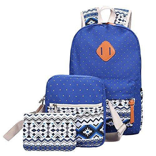 YiLianDa Tela Zaino Scuola Canvas Backpack Casual Ragazza Zaini Vintage Sacchetto di spalla Messenger Borse 3PCS set Sapp