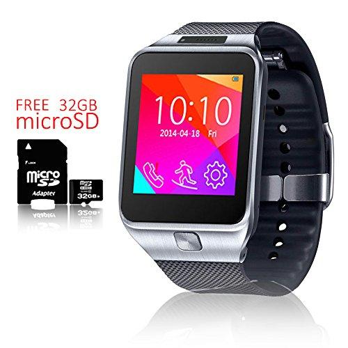 inDigi® 2-in-1-GSM entsperrt. Smartwatch WiFi + Bluetooth + Schrittzähler + Gratis 32GB SD (Handy Für T-mobile Freigeschaltet)