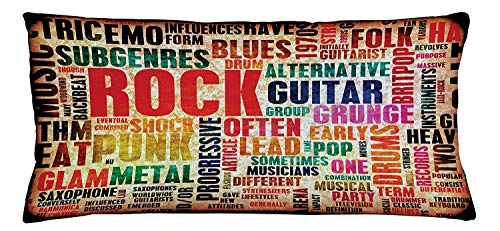 Trsdshorts Music Throw Pillow Cushion Cover, Retro Rock and Roll Symbol Lettering Grunge Distressed Colors Back Then Sound Music Theme, Decorative Square Accent Pillow Case, 18 X 18 Inches, Multi